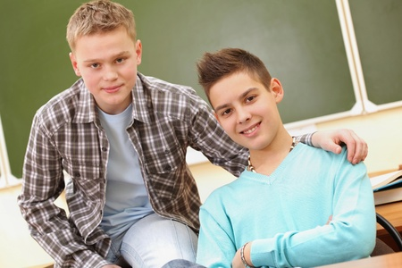 young fellow: Portrait of smart teenage guys looking at camera Stock Photo