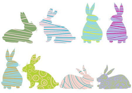 abstract symbolism: Image of creative rabbits isolated over white background
