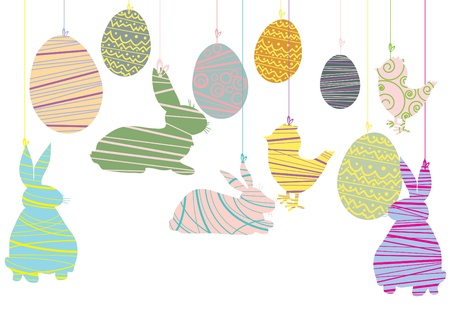 illustration of easter objects hanging over white background  Vector