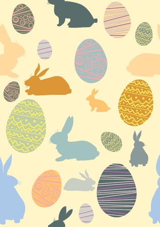 Pattern with eggs, chicken, rabbits. Vector