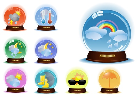 Set of globes with weather phenomenons Vector