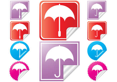 illustration of bright stickers with umbrella  Vector