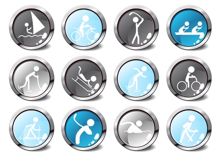 Set of glossy sport icons in different colors Stock Vector - 9461966