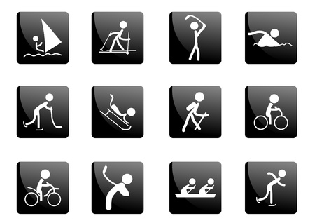 black white kayak: Collection of black glossy sport icons