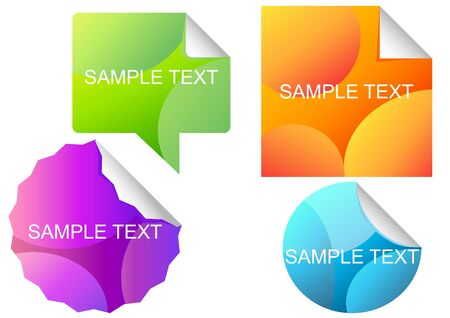illustration of bright different stickers  Vector