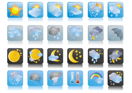 weather report: illustration of collection of weather icons