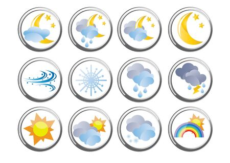 Set of several weather buttons Stock Vector - 9461957