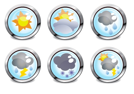 warm water: illustration of six weather glossy buttons