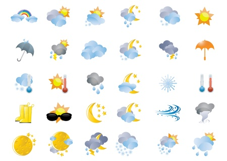 rainy season: Collection of different weather icons Illustration