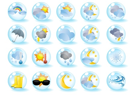 Set of weather icons in blue balls Vector