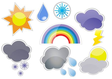 illustration of weather phenomenons isolated on a white background  Stock Vector - 9461950