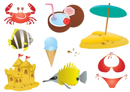 clip art draw: illustration of summer set:  crab, fishes, ice cream, sandy castle, coconut cocktail, sand with umbrella Illustration