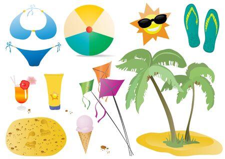 illustration of palm, kite, ice cream, sun, flip-flops, ball, cocktail, blue swimsuit, sand, cream for body Vector