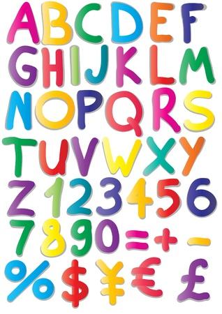 illustratie van magneten van het alfabet, getallen, wiskunde, valuta