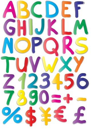 primary colours: illustration of magnets of alphabet, numbers, maths, currencies Illustration