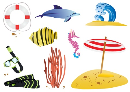 clip art draw: illustration of sea wildlife and beach objects  Illustration