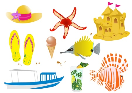 illustration of sea wildlife and beach objects  Stock Vector - 9455071