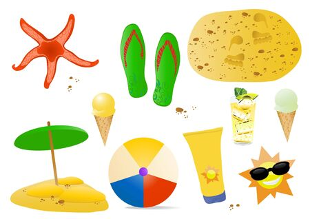 illustration of summer icons: ice-cream, starfish, ball, flip-flops, sun, beach, cream for body and cocktail  Vector