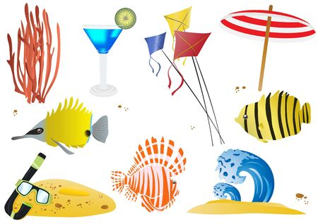 Set of summer objects and sea wildlife Vector