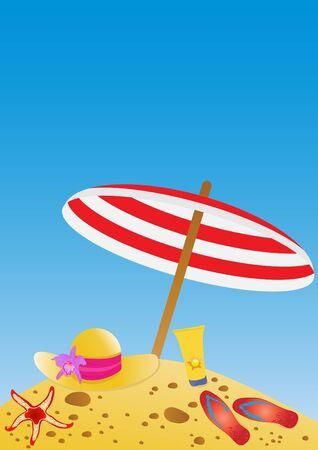 sun cream: illustration of umbrella, hat, flip-flops, cream, starfish on sand over sky