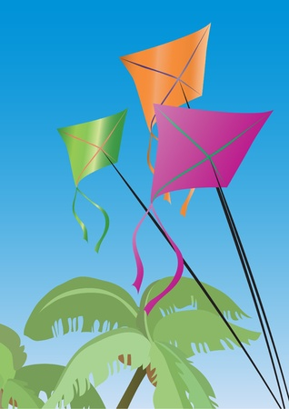 illustration of vacation: palms and colorful kites Stock Vector - 9455277
