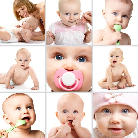 baby feeding: Collage of adorable babies over white background Stock Photo