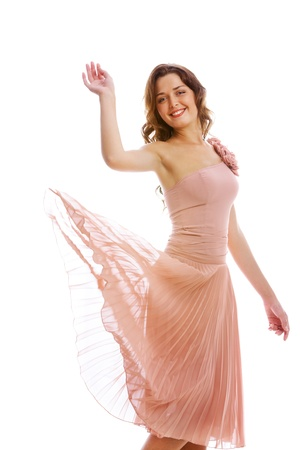 Portrait of beautiful girl in chiffon dress in isolation photo