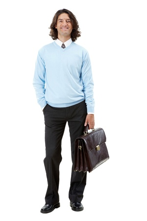 Photo of smart businessman with briefcase over white background Stock Photo - 9537871