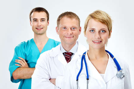 Portrait of friendly doctors looking at camera with smiles Stock Photo - 9527782