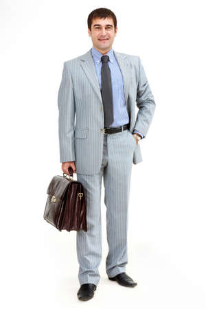 Photo of smart businessman with briefcase over white background Stock Photo - 9537355