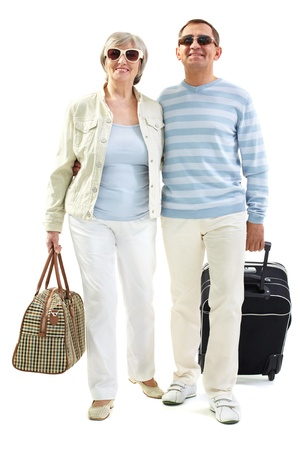 companion: Portrait of happy senior couple going to travel