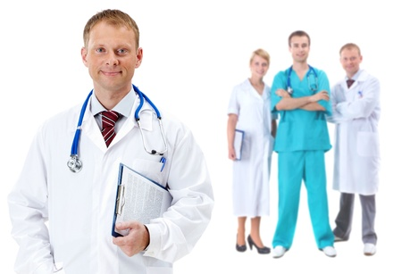 Collage of confident clinicians with handsome doctor in front photo