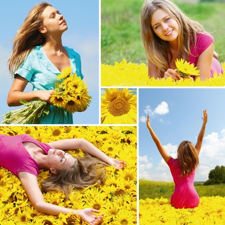 collage caras: Collage de fotos con la mujer entre los girasoles