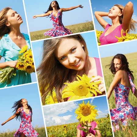 Collage made of photos with beautiful woman among sunflowers photo