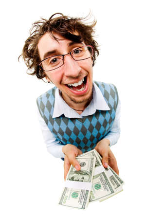 A tousled cheerful man holding dollar batches   photo