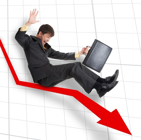 moving down: A businessman moving down on an arrow