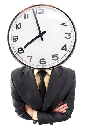 distorted image: Distorted image of a businessman with clock instead of head