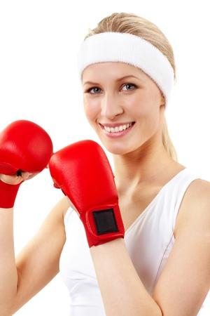 Portrait of a smiling woman boxer  photo