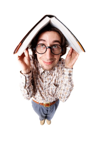 distorted image: Distorted image of a nerd holding a book over his head