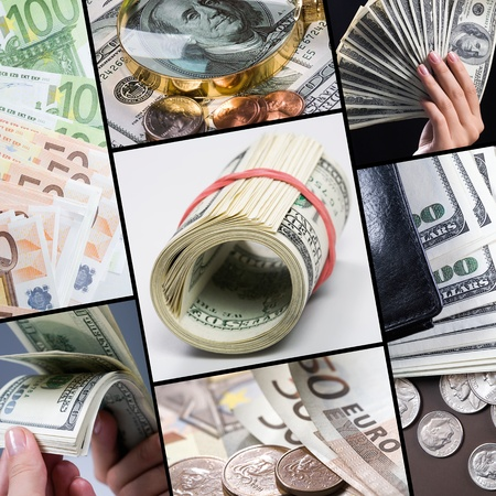 Collage of different real money  photo