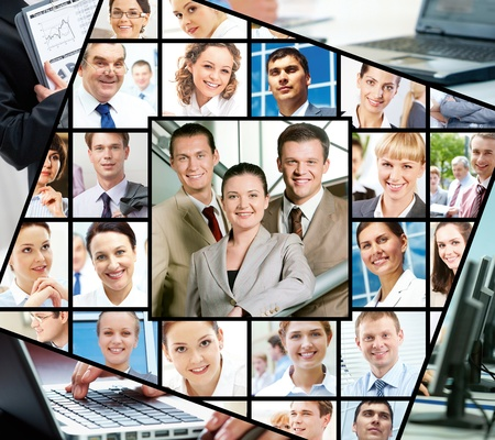 Collage of images with different businesspeople and technology  Stock Photo - 9572232
