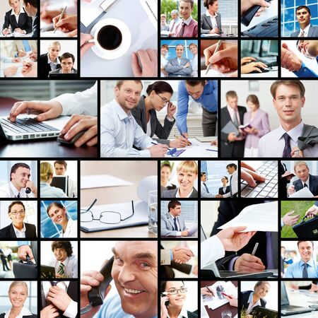 technology collage: Collage of businesspeople in different working situations  Stock Photo