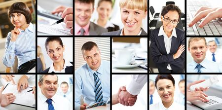 Collage of attractive several businesspersons at work  photo
