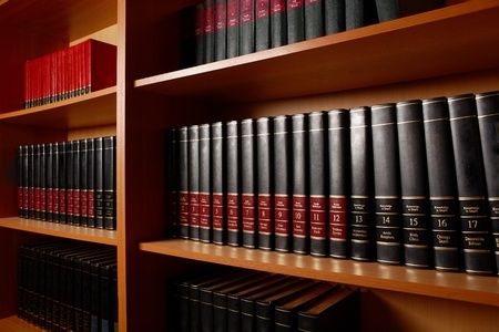 book shelf: Photo of shelves with books in big library of educational institution Stock Photo