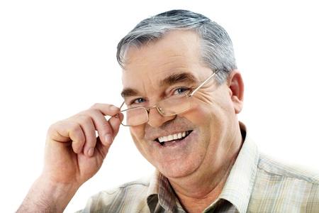 grandfather: Retrato de un anciano en c�mara y sonriente Foto de archivo