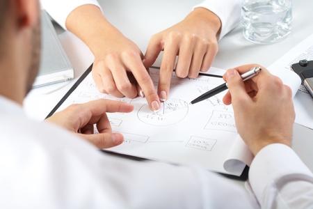 recursos humanos: Dos pares de manos pasando sobre el plan de negocios Foto de archivo