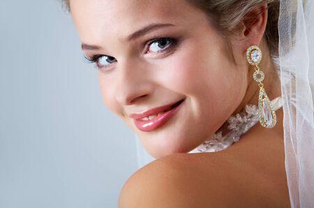 Portrait of pretty bride looking at camera Stock Photo - 9632392