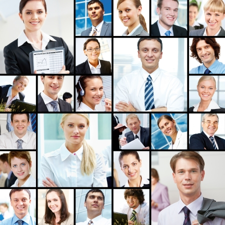 Collage of images with different businesspeople photo