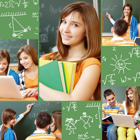 technology collage: Collage of students working in group at lesson and school symbols Stock Photo