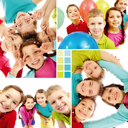Collage of team of happy kids in joyful mood  photo